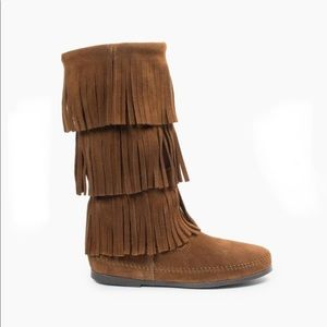 "Minnetonka 3-layer fringe boot in ""dusty brown"""